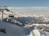 A ski lift in mountains of Caucasus, Georgia, near Mestia, Tetnuldi