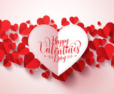 Valentines greetings card design in white color with happy valentines day typography. Red hearts in white background vector illustration design.