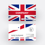 Vector abstract british flag. Professional business card for UK