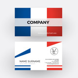 Vector abstract french flag. Professional business card for Fran
