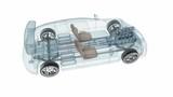 Transparent car design, wire model.3D animation.My own car design.