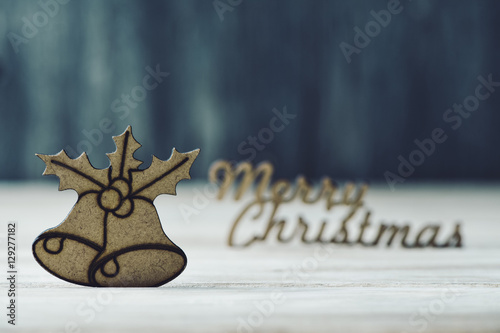 Poster text merry christmas and christmas ornament