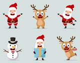 Christmas Santa Claus reindeer, and snowmen collection set