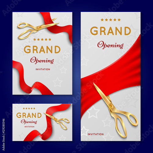 Ribbon Cutting With Scissors Grand Opening Ceremony Vector
