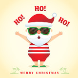 Merry Christmas greetings with cute cartoon santa claus wearing sunglasses, tank top, short pants  slippers. Summer christmas vector illustration.