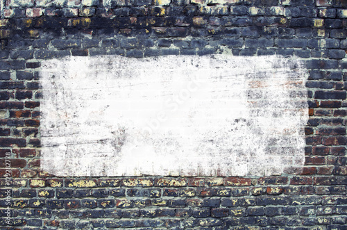 Urban Concrete Brick Wall With Painted Blank Banner Background © adzicnatasa