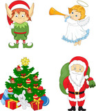 Christmas elf, santa, angel and tree