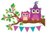 Party owls theme image 2