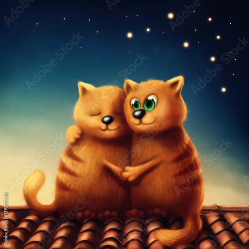 Red cats in love