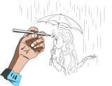 Een tekening maken van een dame met paraplu
