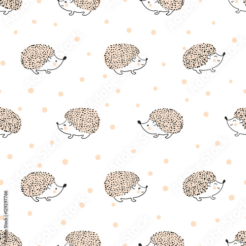 Seamless pattern with cute hand drawn hedgehogs. Vector background for kids. - 129297766