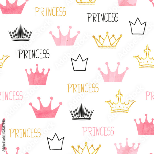 Little princess seamless pattern in pink and golden colors. Vector background with watercolor and glittering crowns - 129297940