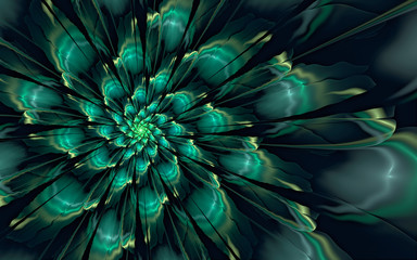 Abstract fractal, glossy green-cyan flower on dark background