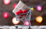 Shopping cart with Christmas and Valentines gifts