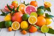 Various citrus fruits (orange, grapeftuit, lemon, mandarine, lime)
