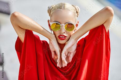 Beautiful young blonde woman outdoor portrait © paultarasenko