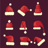vector cartoon red santa claus hat collection