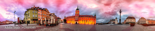 Warsaw Royal Castle Square sunrise skyline, Poland. 360 degree pnanoram from 28 images with post processing effects