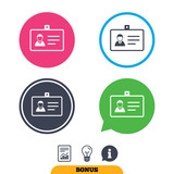 ID card sign icon. Identity card badge symbol. Report document, information sign and light bulb icons. Vector