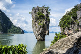 Beautiful lagoon landscape of James Bond Island rounded with mountains in Phuket island, Thailand. Horizontal outdoors shot