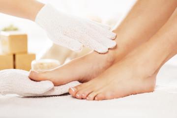 Women in Spa Enjoying Foot Care Treatment