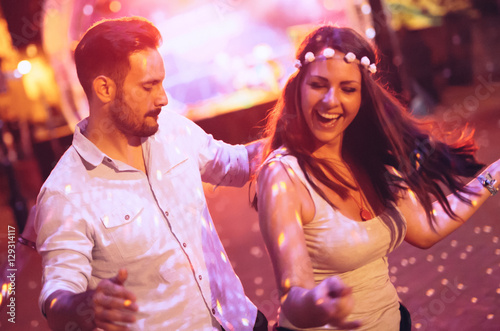 Couple dancing in club