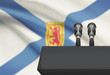 Pulpit and two microphones with Canadian province flag on background - Nova Scotia