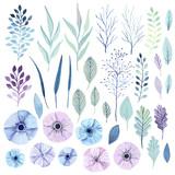 Vector watercolor flowers. - 129319378