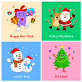 Cute Christmas characters. Cartoon Santa claus with deer, snowman, xmas tree and gift box . illustration isolated on background.