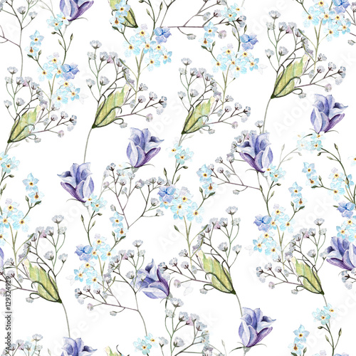 Beautiful watercolor pattern with  flowers, eustomiya, wildflowers.  Illustrations. - 129324929