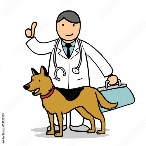 Fototapeta Tierarzt hält Daumen hoch