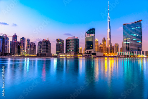 Dubai skyline at dusk Poster
