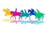 Reiter mit Pferden - 129339729