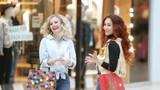 pretty girls in a shopping center