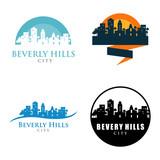 Beverly Hills City Skyline Landscape Logo Symbol Set