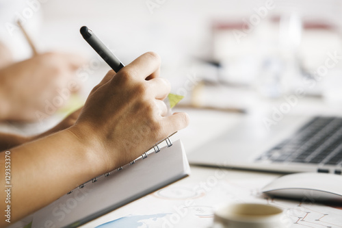 Hand writing in notepad Poster