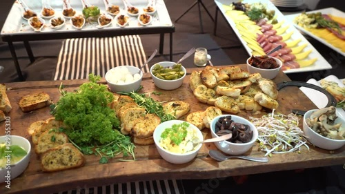 In de dag Buffet, Bar Festive table with food. Table setting in the restaurant. Meals in the restaurant. A festive Banquet. Snacks on the table