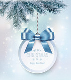 Holiday Christmas background with a gift card and a blue bow. Ve