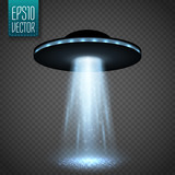 UFO spaceship with light beam isolated on transparnt background. Vector