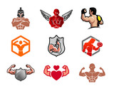 Gym and fitness symbol illustration