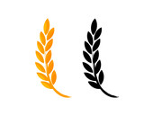 Set of Vector Icons, Ears of Wheat, Icon of Premium Quality Farm Product in gold and black color - 129364992