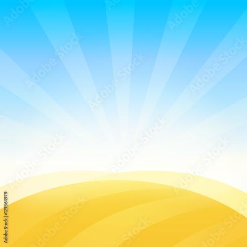 Plexiglas Boerderij Landscape with Farm Field of Wheat under Blue Daily Sky. Vector Background Pattern.
