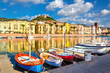 Colorful houses and boats in Bosa, Sardinia, Italy, Europe