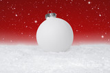 Plain White Christmas Bauble on a fake snow background