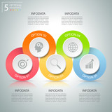 Abstract 3d infographic 5 options,  Business concept infographic