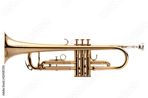 Staande foto Muziekwinkel Trumpet classical instrument isolated on white