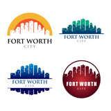 Fort Worth City Building Landmark Skyline Logo Template - 129390794