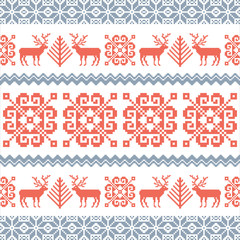Traditional knitted pattern with reindeers