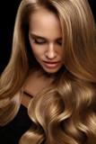 Volume Hair. Beautiful Woman Model With Long Blonde Hair