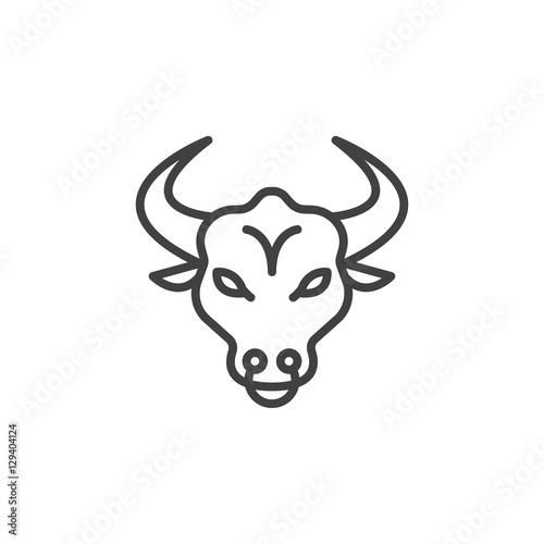 Bull head line icon, outline vector sign, linear pictogram isolated on white. Symbol, logo illustration